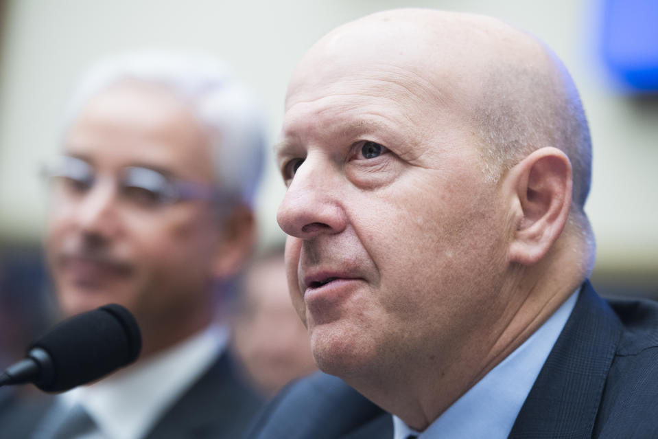 """UNITED STATES - APRIL 10: David Solomon, CEO of Goldman Sachs, testifies during a House Financial Services Committee hearing in Rayburn Building titled """"Holding Megabanks Accountable: A Review of Global Systemically Important Banks 10 years after the Financial Crisis,"""" on Wednesday, April 10, 2019. (Photo By Tom Williams/CQ Roll Call)"""