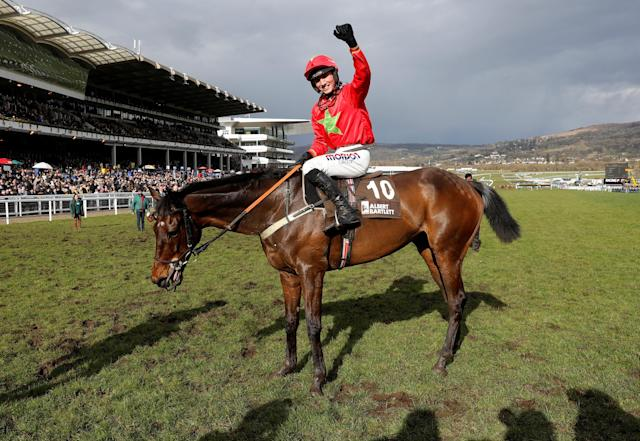 Horse Racing - Cheltenham Festival - Cheltenham Racecourse, Cheltenham, Britain - March 16, 2018 Harry Cobden on Kilbricken Storm celebrates winning the 14.50 Albert Bartlett Novices' Hurdle REUTERS/Darren Staples