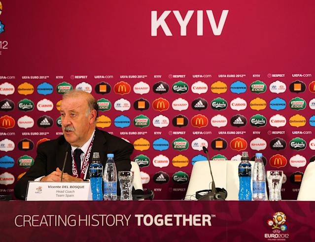 KIEV, UKRAINE - JULY 1: In this handout image provided by UEFA, Coach Vincente Del Bosque of Italy talks to the media after the UEFA EURO 2012 Final match between Spain and Italy at the Olympic Stadium on July 1, 2012 in Kiev, Ukraine. (Photo by Handout/UEFA via Getty Images)