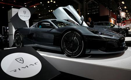 FILE PHOTO: A 2019 Rimac C2 Hyper car, valued at $2.1million, is seen on display at the New York Auto Show in the Manhattan borough of New York City, New York, U.S., March 29, 2018. REUTERS/Shannon Stapleton/File Photo