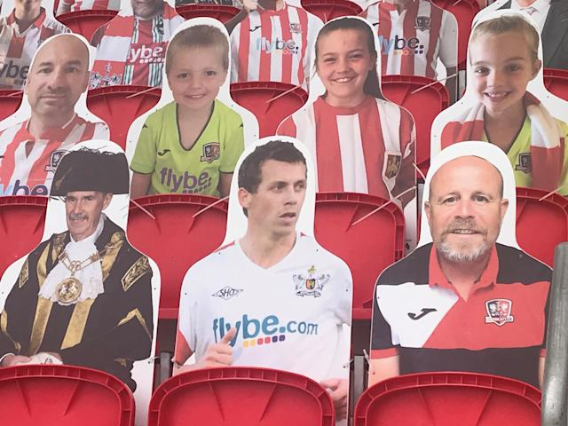 Lord Mayor of Exeter, Councillor Peter Holland, left, and former Grecians player Adam Stansfield, centre, will be among the cardboard cut-outs at Wembley (Exeter City FC