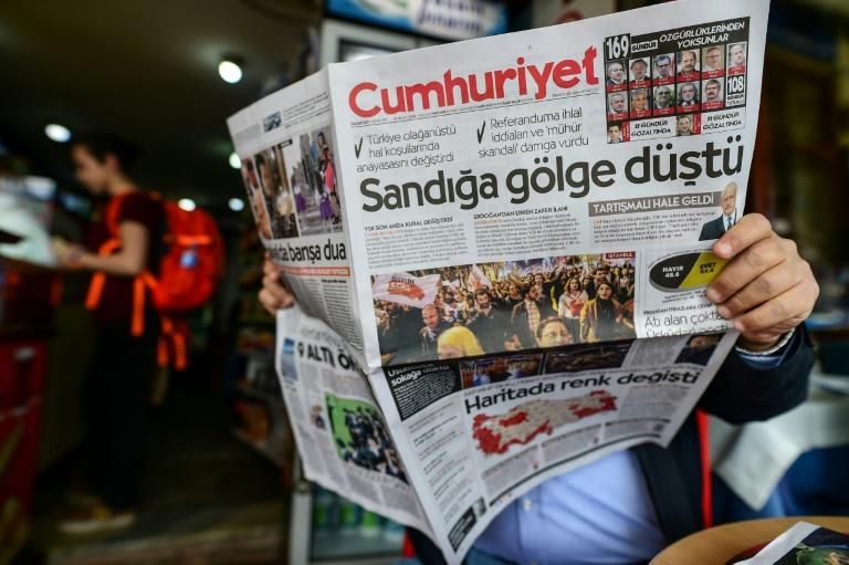 "In Turkey after the referendum, opposition newspaper Cumhuriyet ran a headline focused on alleged vote violations: ""A shadow fell over the ballot boxes"""