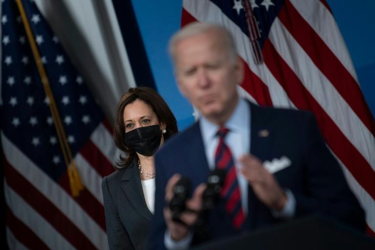 US President Joe Biden, with Vice President Kamala Harris, speaks about infrastructure investment from the Eisenhower Executive Office Building on the White House campus on April 7