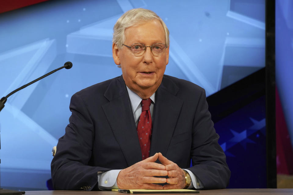 Senate Majority Leader Mitch McConnell, R-Ky., speaks during a debate with opponent Amy McGrath in Lexington, Ky., Monday, Oct. 12, 2020. (Michael Clubb, The Kentucky Kernel via AP Pool)