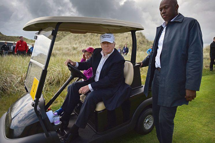 Donald Trump at another of his golf properties, in Scotland. (Getty)