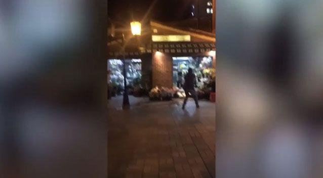 Graphic footage filmed by a witness and posted on social media shows the moment the man appears to run toward police. Photo: Facebook