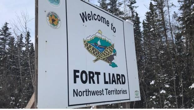 The sign at the top of the hill welcoming people into Fort Liard, N.W.T. Most band members of Acho Dene Koe First Nation live in that community.