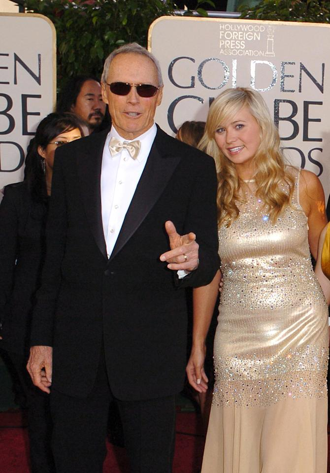 Clint Eastwood with daughter Kathryn Eastwood (Miss Golden Globe) at the 62nd Annual Golden Globe Awards on January 16, 2005. (Photo  by Steve Granitz Archive 1/WireImage)