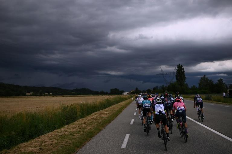 Stormclouds gather over stage 10 of the tour, that finished just ahead of a deluge