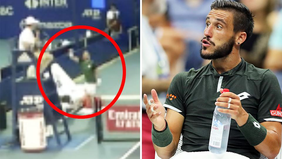 Damir Dzumhur was defaulted from the Mexico Open after a stunning tirade directed at the chair umpire over a call he disputed. Pictures: ATP/Getty Images
