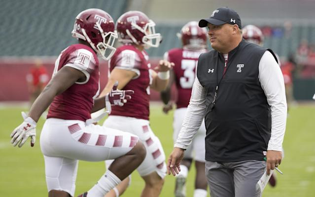 Temple coach Geoff Collins and eight of his players will embark on a nine-day trip to Japan. (Photo by Mitchell Leff/Getty Images)