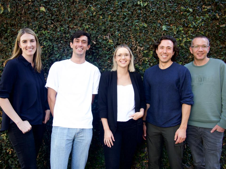 A group photo of The Fund Australia's team (left to right): Elicia McDonald, Adrian Petersen, Georgia Vidler, Ed Taylor and Todd Deacon
