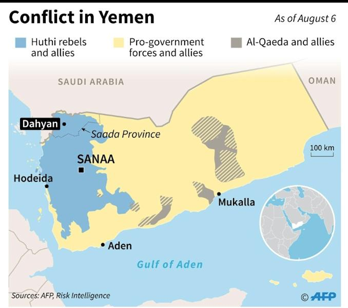 Map showing territorial control in Yemen