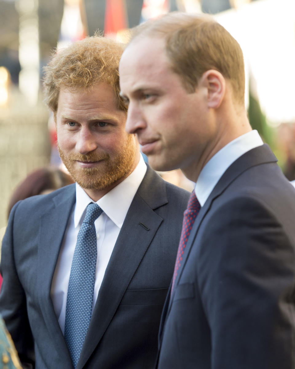 Prince Harry and Prince William, Duke of Cambridge attend the Commonwealth Observance Day Service on March 14, 2016 in London, United Kingdom. The service is the largest annual inter-faith gathering in the United Kingdom and will celebrate the Queen's 90th birthday. Kofi Annan and Ellie Goulding will take part in the service.  (Photo by Mark Cuthbert/UK Press via Getty Images)