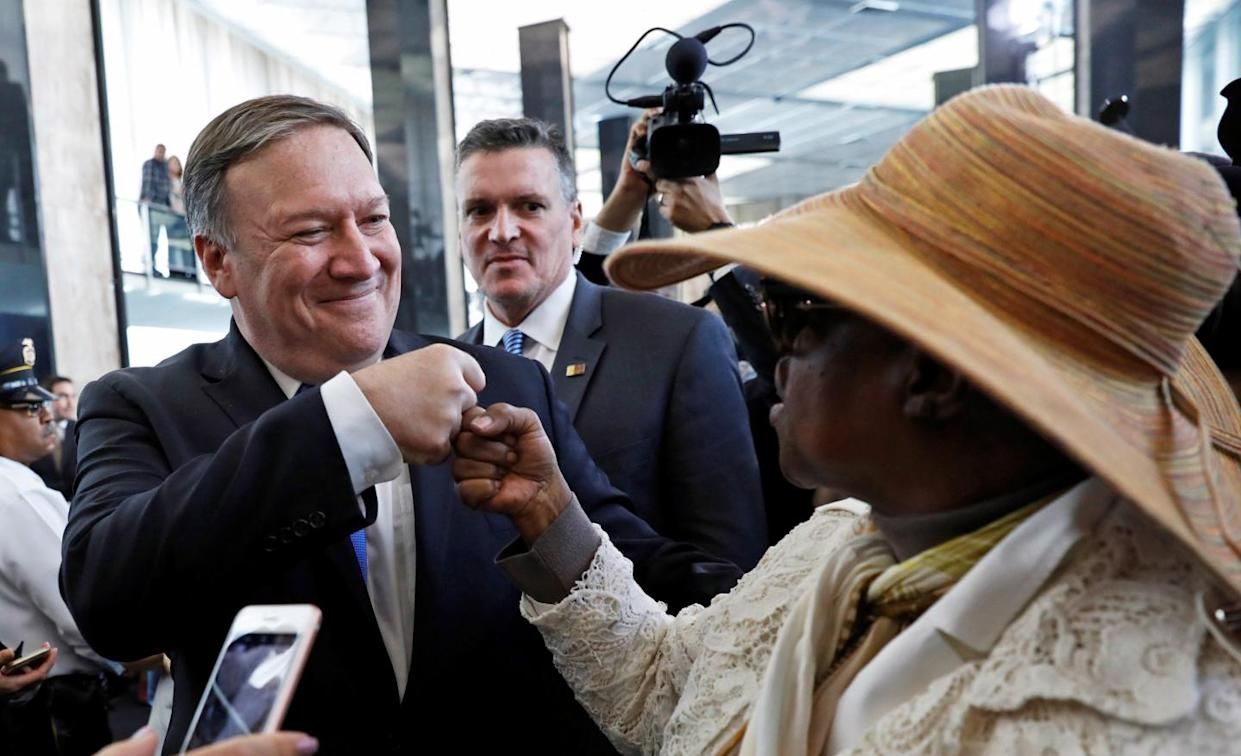 Mike Pompeo arrives at the State Department in Washington