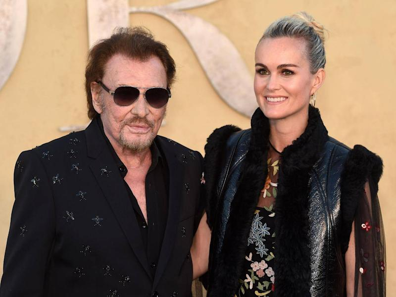 Johnny Hallyday and wife Laeticia in California for a Dior fashion show in 2017 (AFP/Getty)