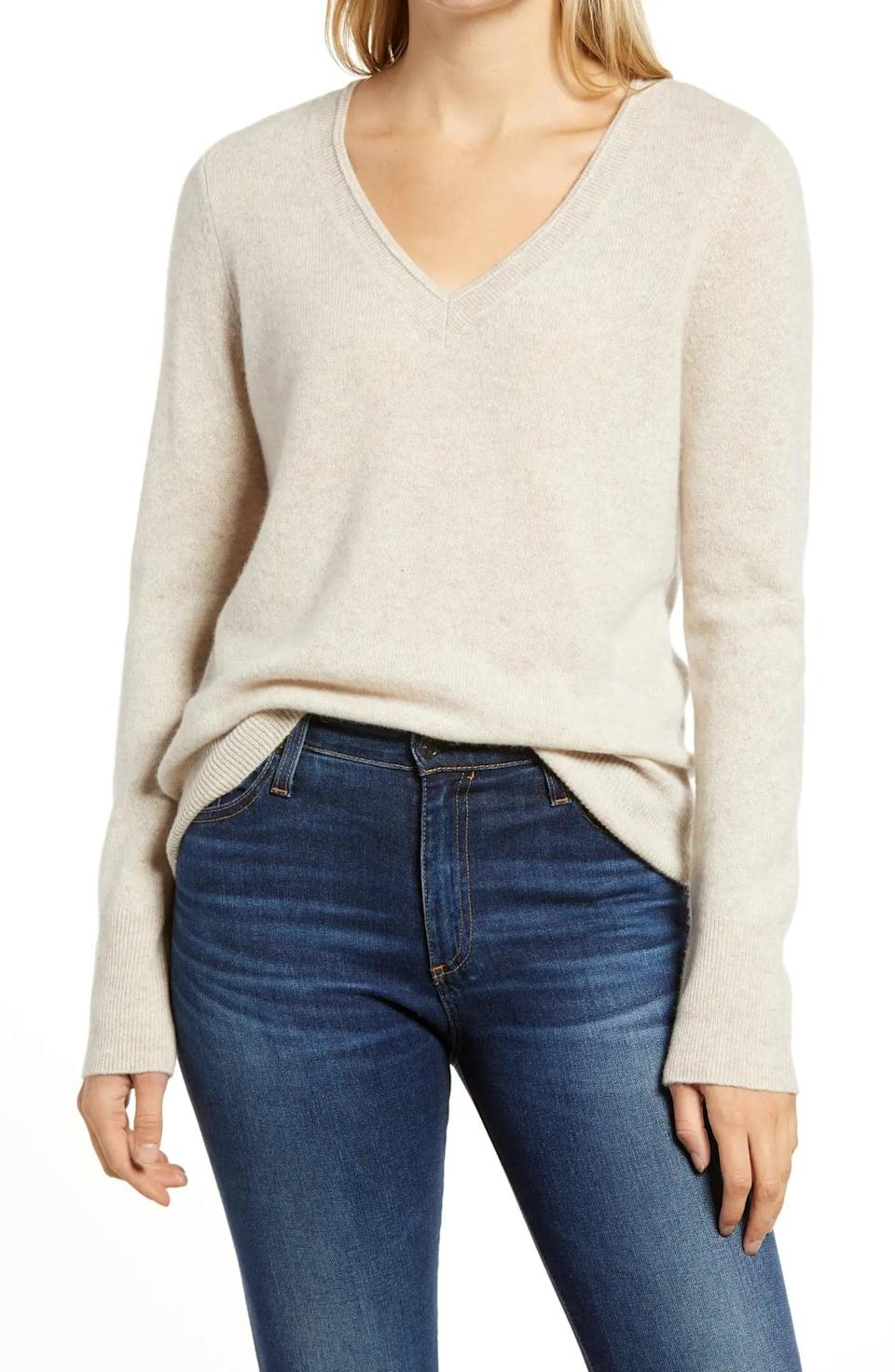 <p><span>Halogen V-Neck Cashmere Sweater</span> ($58, originally $98)</p>