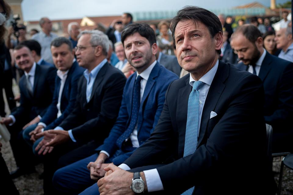 ROME, ITALY - SEPTEMBER 19: Italian Prime Minister Giuseppe Conte, Italian Minister of Health Roberto Speranza and Italian journalist Enrico Mentana take part in a labor party organized by the left wing political party Articolo 1 - Mdp, on September 19, 2019 in Rome, Italy. (Photo by Antonio Masiello/Getty Images) (Photo: Antonio Masiello via Getty Images)