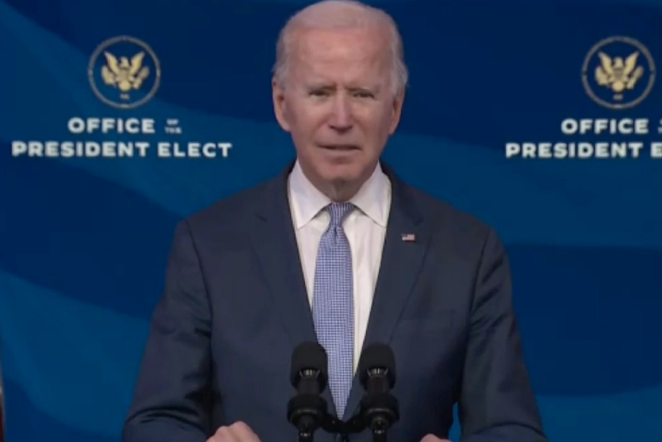 Pictured is US President-elect Joe Biden during a press conference.