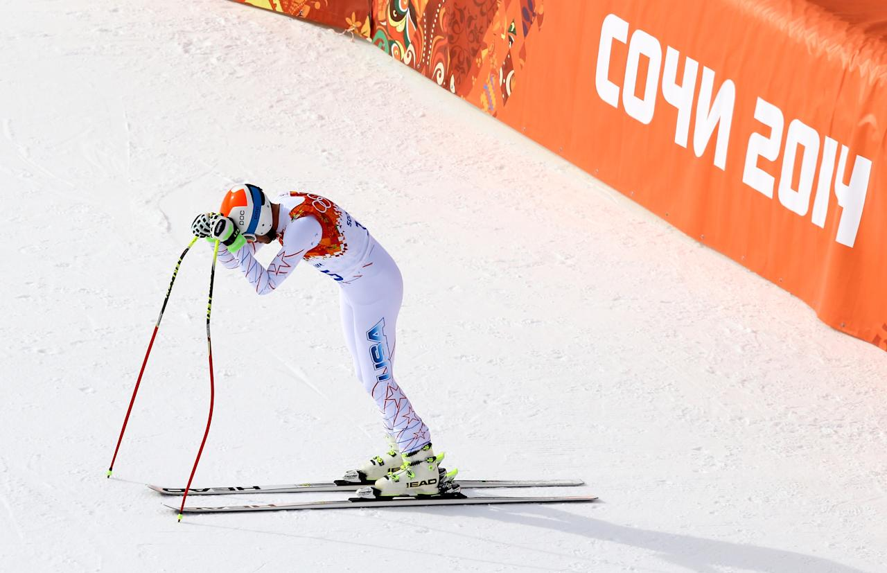 SOCHI, RUSSIA - FEBRUARY 09: Bode Miller of the United States finishes a run during the Alpine Skiing Men's Downhill at Rosa Khutor Alpine Center on February 9, 2014 in Sochi, Russia. (Photo by Al Bello/Getty Images)