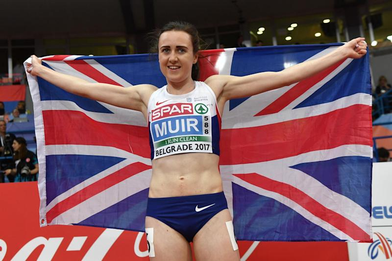 Double champion | Laura Muir won two gold medals in Belgrade: AFP/Getty Images