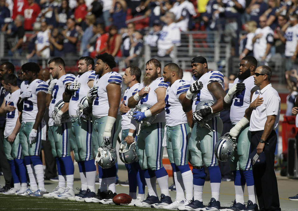 Dallas Cowboys players stand during the performance of the national anthem on Sunday. (AP)