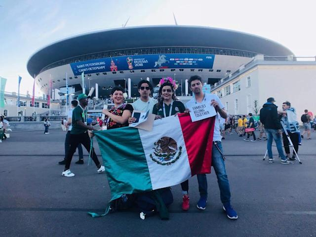 Rene Neri, Pablo Casanova, and Ruben Craviot attended the 2018 World Cup and decided to spread a message in the process. (Libeth Morales)