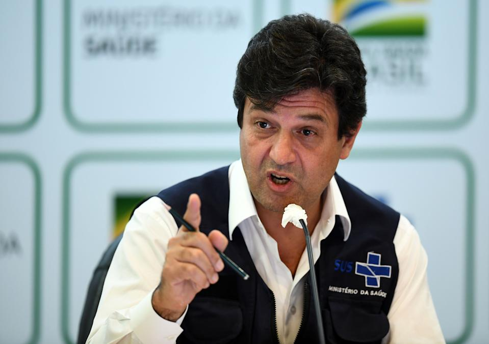 Brazil's Health Minister Luiz Henrique Mandetta gestures as he speaks during a press conference in Brasilia on April 16, 2020. - Brazil's Health Minister Luiz Henrique Mandetta said Thursday he had been sacked by President Jair Bolsonaro, after weeks of clashes between the two over the country's response to the coronavirus pandemic. (Photo by EVARISTO SA / AFP) (Photo by EVARISTO SA/AFP via Getty Images)