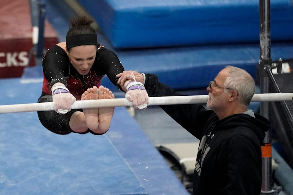 Chellsie Memmel works out with her father and coach Andy Memmel on Feb. 18, 2021, in New Berlin, Wis.
