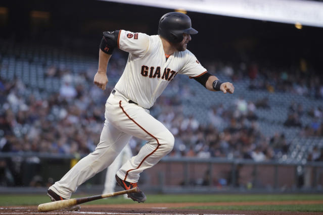 San Francisco Giants' Stephen Vogt runs after hitting a two-run single off Pittsburgh Pirates pitcher Mitch Keller during the first inning of a baseball game Tuesday, Sept. 10, 2019, in San Francisco. (AP Photo/Ben Margot)