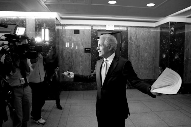 Sen. Bob Corker, R-Tenn., speaks with reporters on Capitol Hill on September 26, after announcing his retirement at the conclusion of his term. (Photo: Aaron P. Bernstein/Reuters)