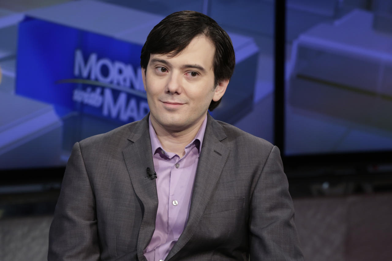 "FILE - In this Aug. 15, 2017 file photo, Martin Shkreli is interviewed by Maria Bartiromo during her ""Mornings with Maria Bartiromo"" program on the Fox Business Network, in New York. ""Pharma Bro"" Martin Shkreli is due back in court for a hearing about whether he should forfeit millions of dollars in assets including a one-of-a-kind Wu-Tang Clan album as part of his conviction in a securities fraud scheme. The hearing is scheduled for Friday, Feb. 23, 2018, in federal court in Brooklyn. (AP Photo/Richard Drew, File)"