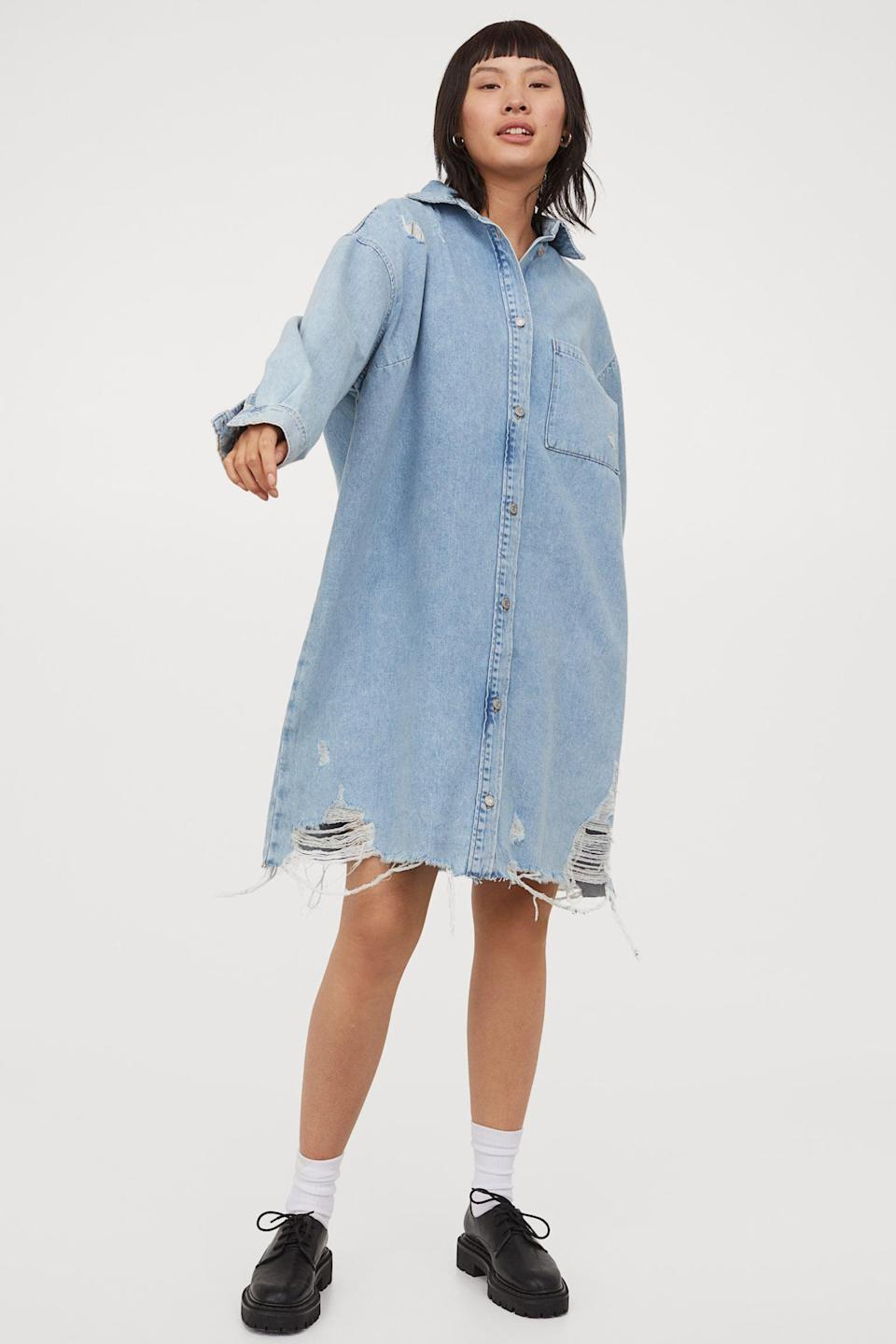 <p>This <span>H&amp;M Oversized Denim Dress</span> ($30) will be worn on repeat.</p>