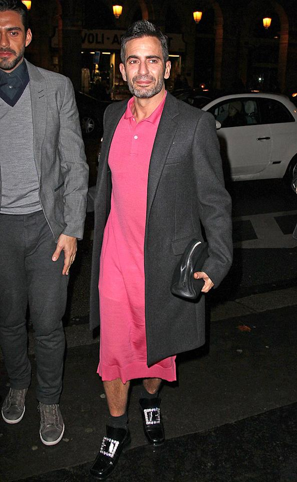 To be clear, we have no problem whatsoever with men who enjoy wearing frocks. We just wish Marc Jacobs would've selected something a bit more fabulous. Pepto-Bismol pink isn't his color. (3/7/2012)