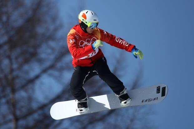 Canada's Eliot Grondin, seen in this 2018 file photo, took gold at the World Cup snowboard cross event on Thursday in Bakuriani, Georgia.  (Cameron Spencer/Getty Images - image credit)