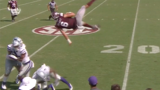 Garrett Shrader came up about a yard short of the first down on this play. (via ESPN)