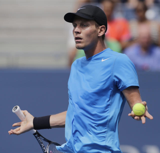 Czech Republic's Tomas Berdych reacts during his match against Britain's Andy Murray during a semifinal match at the 2012 US Open tennis tournament, Saturday, Sept. 8, 2012, in New York. (AP Photo/Charles Krupa)