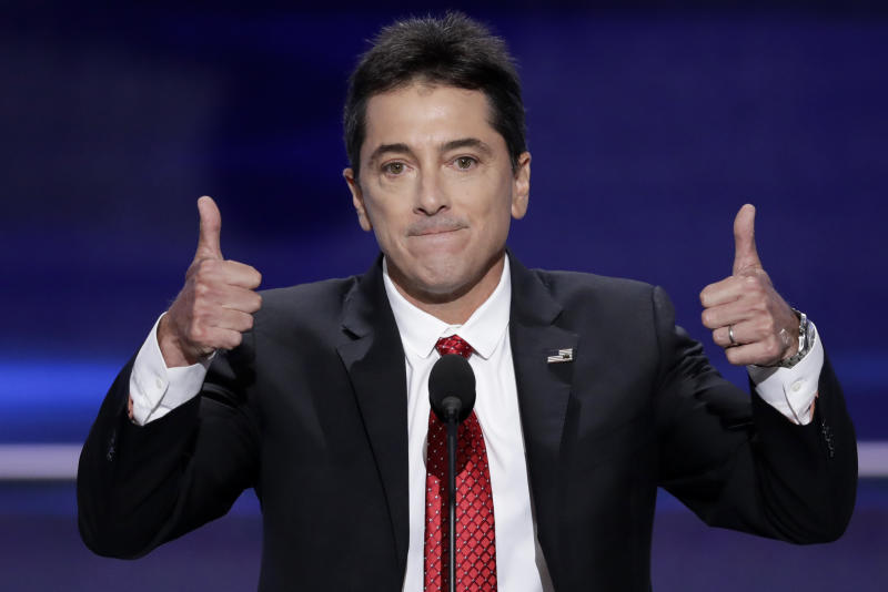 "FILE - In this July 18, 2016 file photo, actor Scott Baio gives two thumbs up after addressing the delegates during the opening day of the Republican National Convention in Cleveland. Baio Tweeted after the election, ""Great faith in God works. Mr @realDonaldTrump I'm proud to call you President of the United States of America. And First Lady @melaniatrump."" (AP Photo/J. Scott Applewhite, File)"