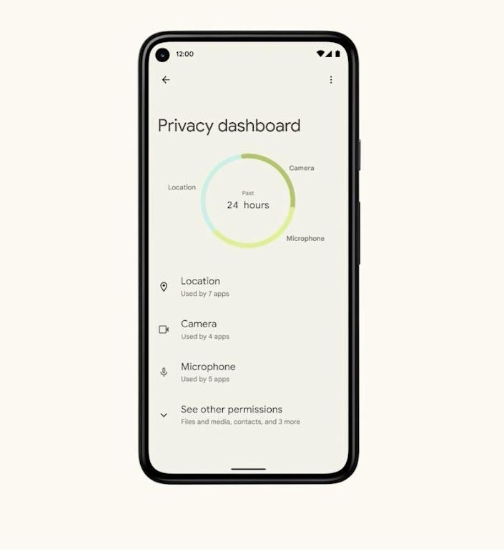 The Privacy Dashboard feature, part of Android 12,  a revision of Google's mobile operating system due later this year.