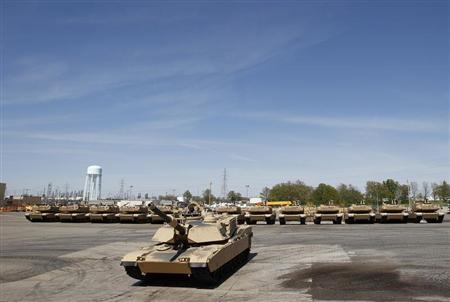 Tanks on display during a tour of the Joint Systems Manufacturing Center, Lima Army Tank Plant, in Lima