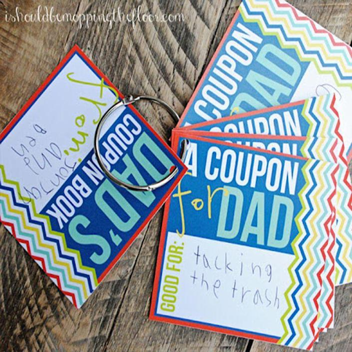 """<p>Take some chores off Dad's plate with this DIY coupon book. Offer Dad everything from """"taking out the trash"""" to """"giving a hug"""" when he needs it. </p><p><em>Get the printable at <a href=""""https://www.ishouldbemoppingthefloor.com/2013/05/fridays-freebie-printable-fathers-day.html"""" rel=""""nofollow noopener"""" target=""""_blank"""" data-ylk=""""slk:I Should Be Mopping the Floor"""" class=""""link rapid-noclick-resp"""">I Should Be Mopping the Floor</a>.</em></p>"""
