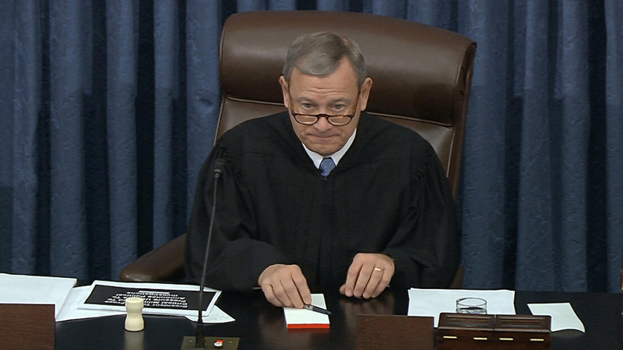 Presiding officer Supreme Court Chief Justice John Roberts listens during the impeachment trial against President Donald Trump in the Senate at the U.S. Capitol in Washington on Jan. 23, 2020. (Screengrab: Senate TV via AP)