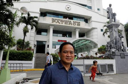 Filipino Mayor Ike Ponce poses outside the municipal hall in the Philippine town of Pateros, Metro Manila