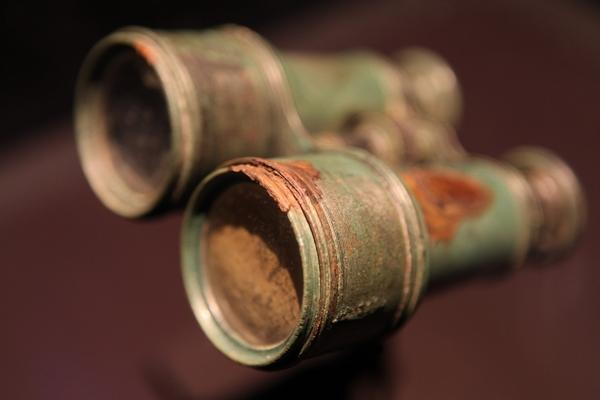 A pair of binoculars, recovered in 1994.