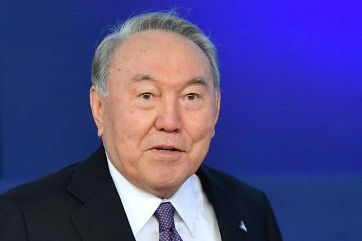 Kazakhstan's 79-year-old former president and official 'Leader of the Nation' Nursultan Nazarbayev has tested positive for the coronavirus, his website said (AFP Photo/EMMANUEL DUNAND)