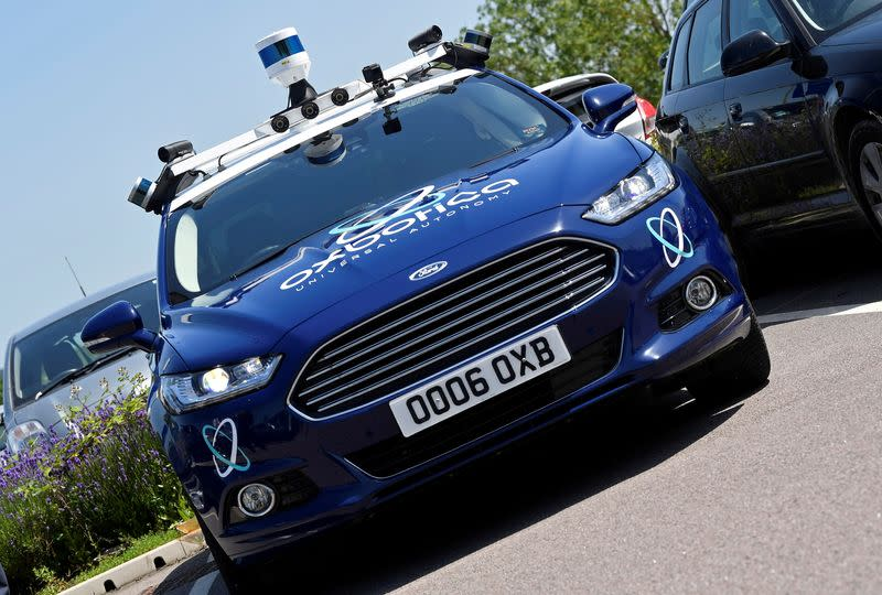 FILE PHOTO: Sensors and other driving guidance technology are seen on a passenger vehicle being used to travel autonomously using Oxbotica software during a trial on public roads in Oxford