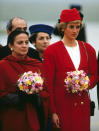 <p>Diana wore a scarlet Chanel suit when she arrived in Paris in October 1988 [Photo: PA] </p>