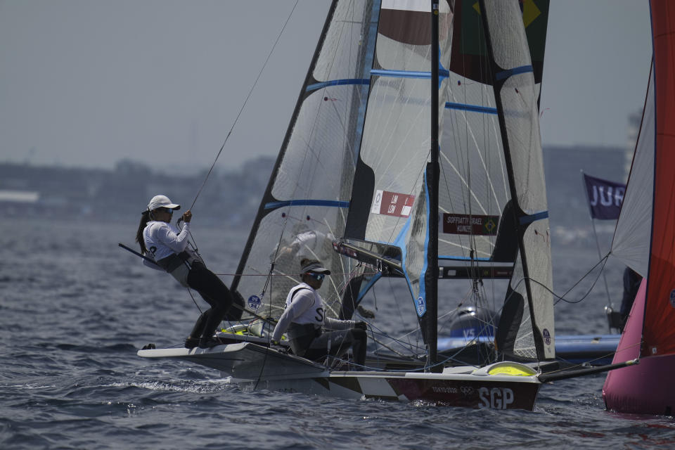 Singapore sailors Kimberly Lim and Cecilia Low in action in the women's 49er FX class competition at the 2020 Tokyo Olympics. (PHOTO: SNOC/Kong Chong Yew)