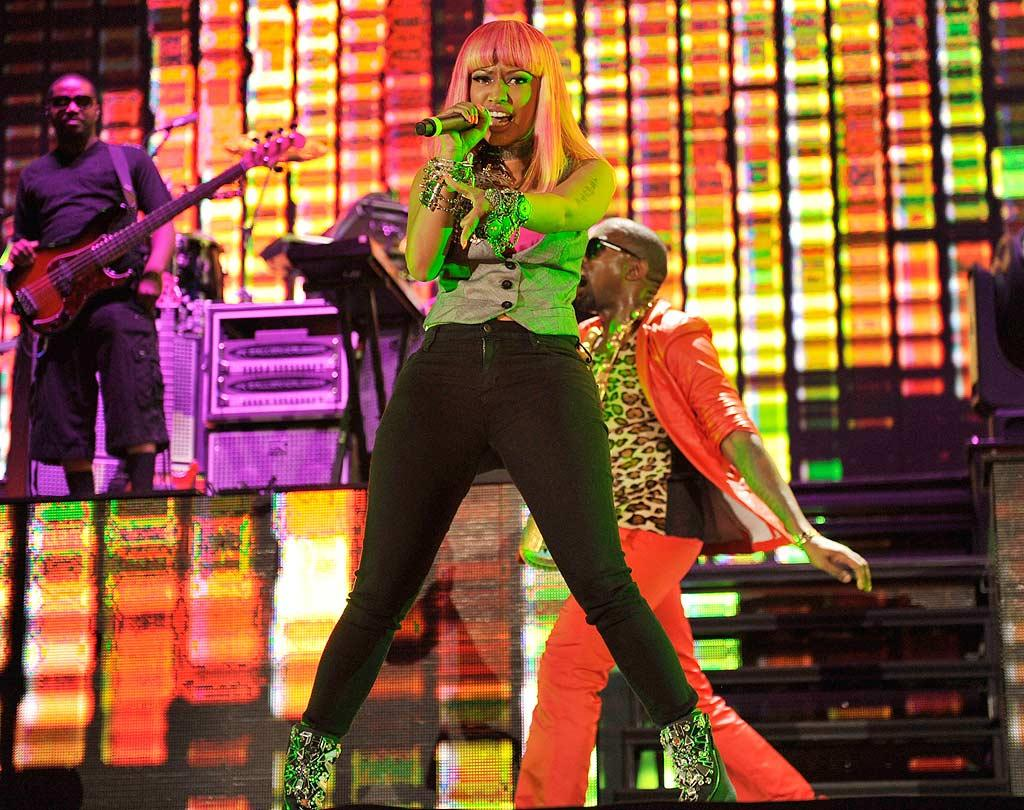 """Kanye tried out some of his new material on the crowd, including """"Monster,"""" featuring Nicki Minaj. Kevin Mazur/<a href=""""http://www.wireimage.com"""" target=""""new"""">WireImage.com</a> - September 13, 2010"""