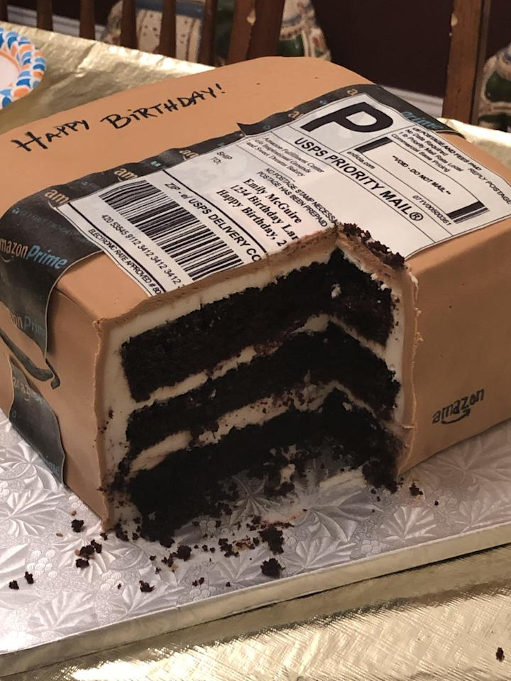 1 Husband Gave His Wife a Custom Amazon Box Cake For Her Birthday, and It's So Realistic!
